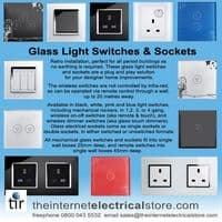 illucio Glass 1 Gang  2 Way  touch light switch in White